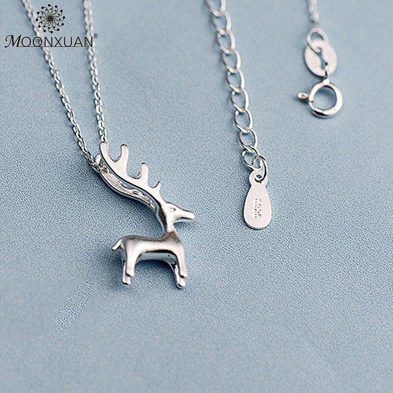 925 Sterling Silver Fashion Solid Elk Collares Colgantes Cadenas de - Joyas - foto 5