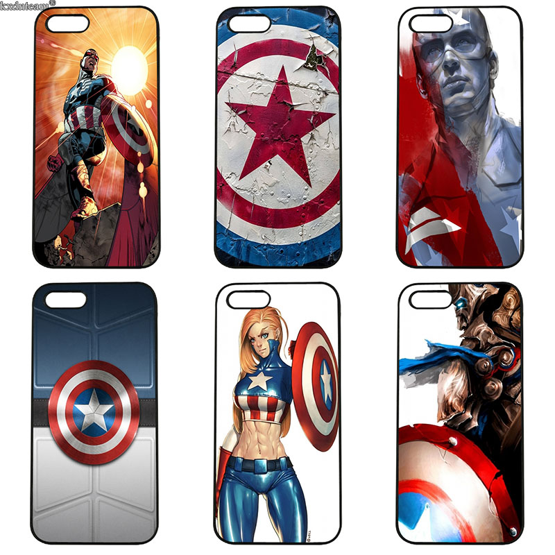 Hard PC Marvel Hero Captain America Cover Mobile Phone Cases for iphone 8 7 6 6S Plus X 5S 5C 5 SE 4 4S iPod Touch 4 5 6 Shell