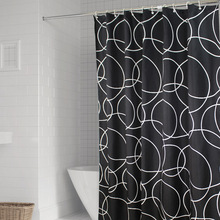 Black white ring Shower curtain waterproof moldproof Polyester cloth bath Geometric stripes 1.8x2m shower curatain