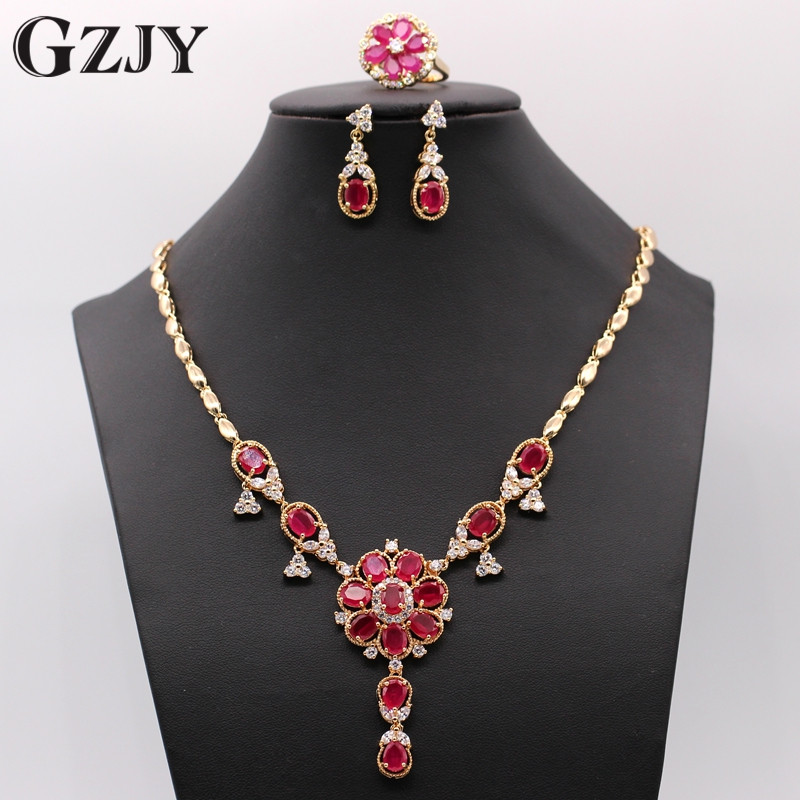 GZJY Elegant Beautiful Champagn Gold Color Flowers Natural Red AAA Zirconia Necklace Earring Ring Jewelry Set Birthday gifts