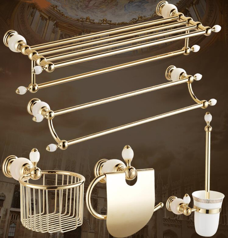 Luxury solid brass and white jade gold finish Bathroom Accessories Set,Robe hook,Paper Holder,Towel Bar,Soap basket