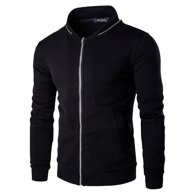 Mens Causal Sweatshirt Fashion 2016 New Baseball Jacket Zip Collar Zipper Decoration Hoodies Men Slim Fit Tracksuits ZW115