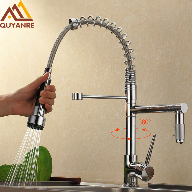 Chrome Black Kitchen Spring Faucet Pull Down Spray Dual Outlet Spout 360 Rotation Single Handle Mixer