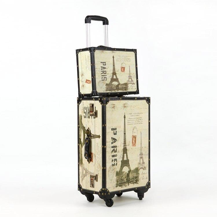 PU leather Wood 4 Wheels Travel Trolley Eiffel TowerPainting Cabin Rolling Luggage Retro Wheel board chassis