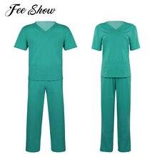 2 шт., унисекс, для взрослых, медицинский, медицинский, для медсестер, костюм, Униформа, костюмы, v-образный вырез, короткий рукав, топ с эластичной талией, длинные штаны