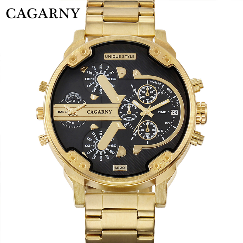 <font><b>52MM</b></font> Big Case Gold <font><b>Watch</b></font> Men Stainless Steel Band Fashion Mens Quartz <font><b>Watches</b></font> Man Dual Times Military relogio masculino Cagarny image