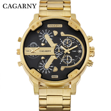 цена на 52MM Big Case Gold Watch Men Stainless Steel Band Fashion Mens Quartz Watches Man Dual Times Military relogio masculino Cagarny