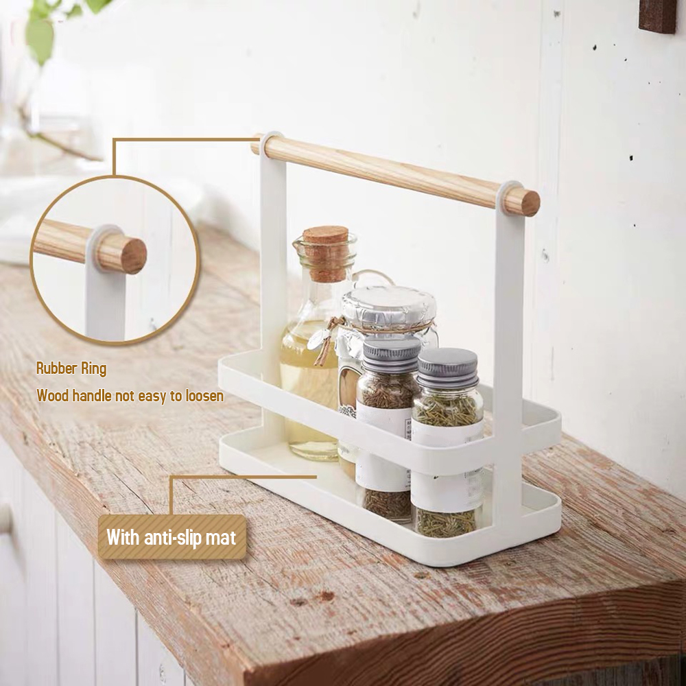 Portable Spice Rack Food Kitchen Cabinet Storage Organizer Kitchen Storage Kitchen Goods Shelf with Wood Handle for kitchen