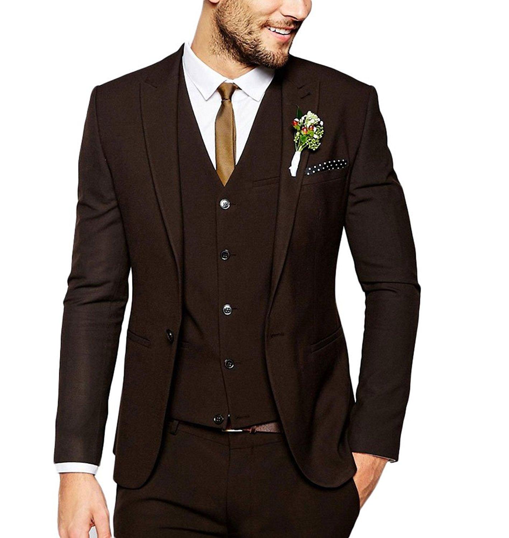 d217faf5612e89 Compre Traje De Hombre De Color Marrón Oscuro Para Hombres De La ...