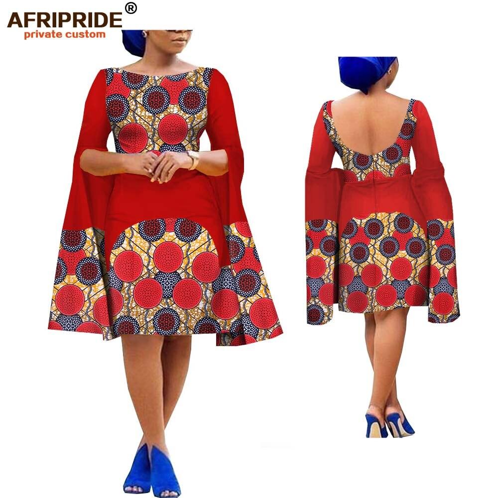 2019 automne africain batik robe pour les femmes AFRIPRIDE sur mesure complet cape manches genou longueur femmes décontracté coton robe A1825082