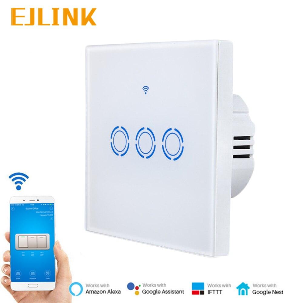 EJLINK 3 Gang 1 voie Wifi commutateur Ewelink App télécommande minuterie interrupteur de lumière pour la domotique intelligente fonctionne avec Google Home