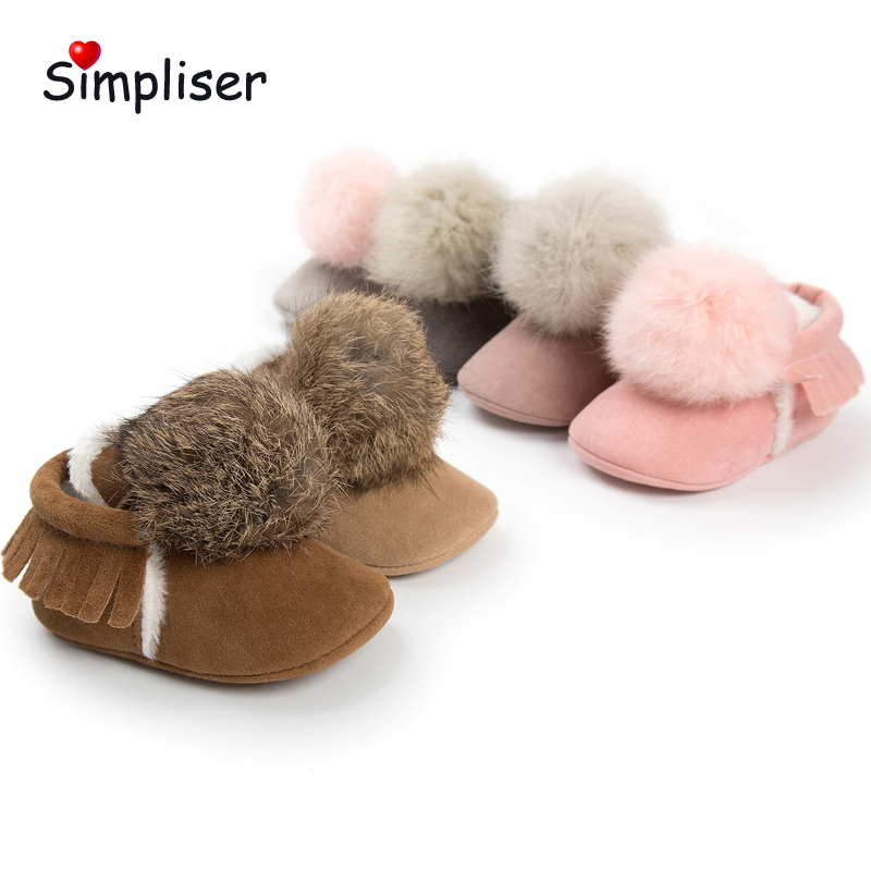 Warm Plush Boots For newborn Baby Girls Boys 2018 Winter Crib Boot Walking Shoes Fur Ball Infantil Botas Pink Outdoor Footwear