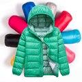 Crianças bebê Para Baixo-2016 ª temporada outono e inverno magro meninas e meninos grandes roupas de criança com capuz casaco curto