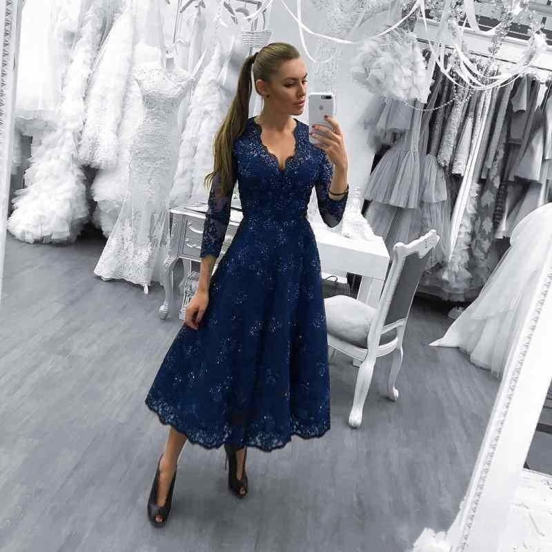 Navy Blue Tea Length Mother of the Bride Dresses 3/4 Long Sleeves A Line  Formal Lace Wedding Guest Prom Party Gowns Custom 2018