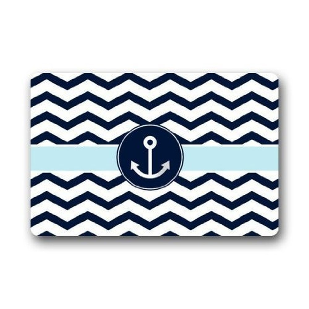 Exceptional Memory Home Navy Blue And White Chevron With Nautical Anchor Indoor Outdoor  Decor Rug Doormat Non Woven Fabric Non Slip Rug
