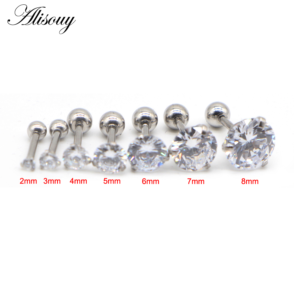 Fashion CZ 3 Prong Tragus Cartilage Stainless Steel Ear Stud Crystal Zircon Earrings Piercing Jewelry Gold Clear boucle 1pc