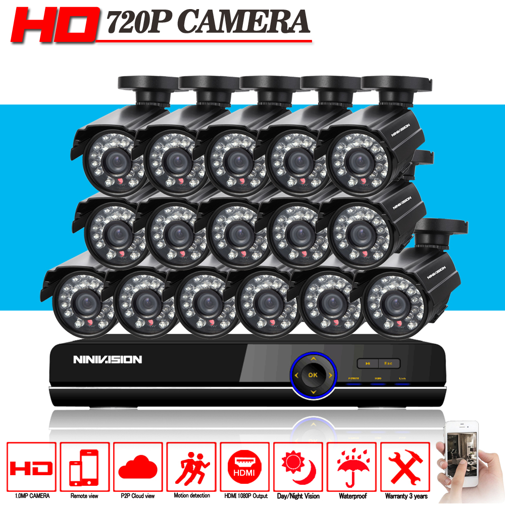 HD 16channel 1080p AHD DVR kit Video surveillance camera Security outdoor Indoor 1.0MP 2000TVL CCTV System 16CH DVR system greatech hd 8 channel ahd dvr kit 720p video surveillance security outdoor indoor cctv 8 cameras 1200tvl ahd system 8ch