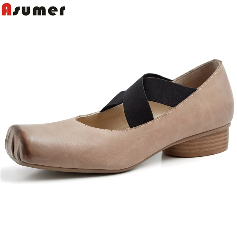 ASUMER 2019 spring new shoes woman square toe shallow genuine leather shoes med heels mary janes shoes casual pumps women shoes ASUMER 2019 spring new shoes woman square toe shallow genuine leather shoes med heels mary janes shoes casual pumps women shoes