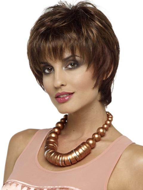 Włosy Syntetyczne Kobiety Krótkie Peruki Brązowy Blond Pasemkami