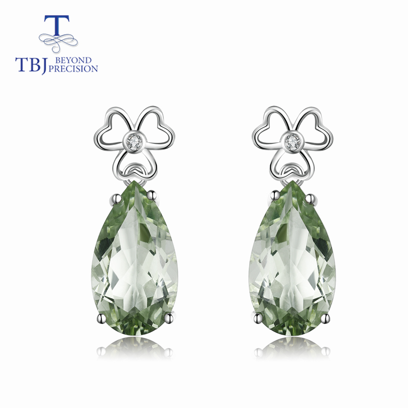 TBJ big Drop Earrings with natural green amethyst gemstone in 925 sterling silver fine jewelry for
