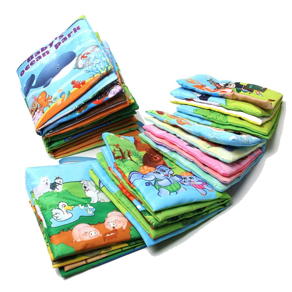 10pages New Colorful Educational Unfolding Activity Book Retail Baby Toys Infant Kids Early Development Cloth Books