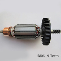 AC 220V 9 Teeth Drive Shaft Electric Circular saw cutting machine Armature Rotor for Makita 5806,Power Tool Accessories