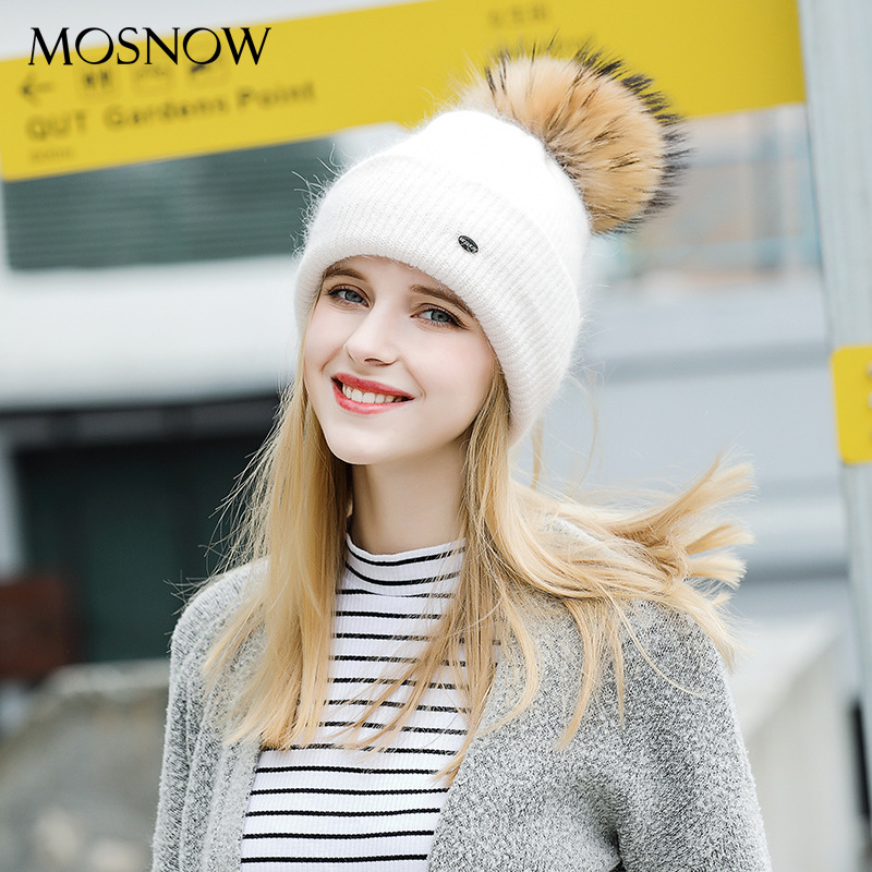 Woman Winter Hats Wool Raccoon Fur Pom Pom Hats Girls Autumn Winter Knitted Hat Female Skullies Beanies Adjustable B-9416