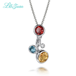 I&Zuan 925 Sterling Silver Chain Necklace Natural Citrine/Topaz/Garnet Yellow/Blue/Red Necklace & Pendant For Women Fine Jewelry