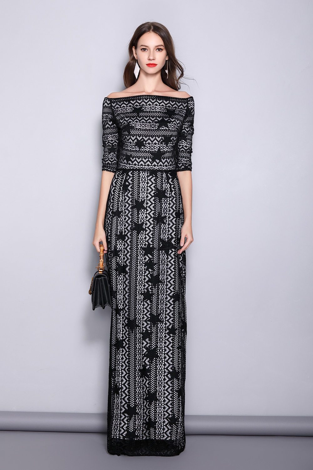 Women 39 s Slash Neckline 3 4 Sleeves Off the Shoulder Embroidery Lace Split Elegant Party Dresses Fashion Long Runway Dresses in Dresses from Women 39 s Clothing