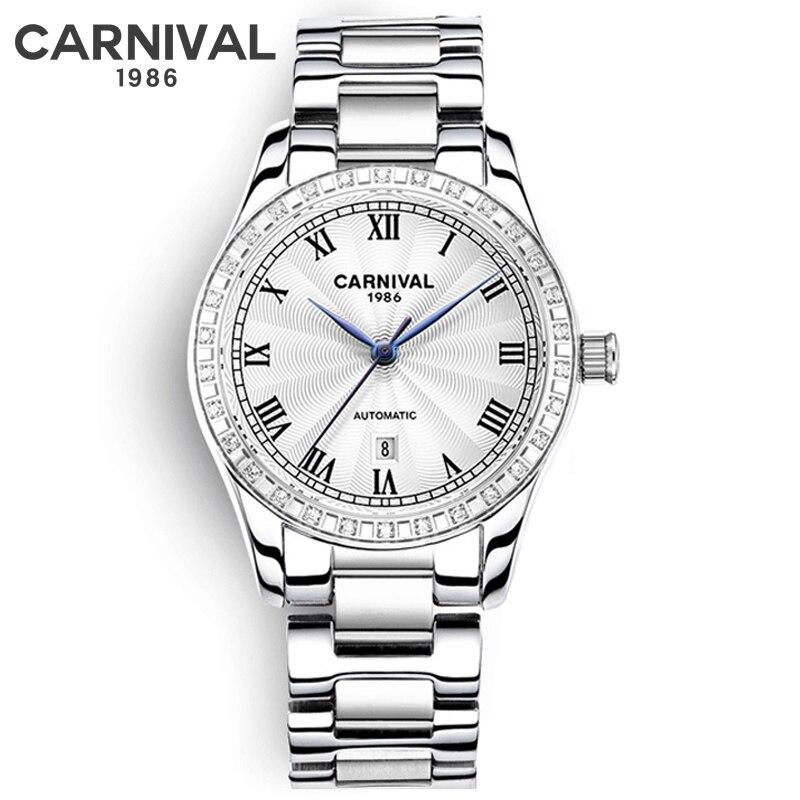 Watch Women luxury Fashion Casual 30m waterproof Automatic mechanical watches steel strap sport Ladies elegant wrist watch girl