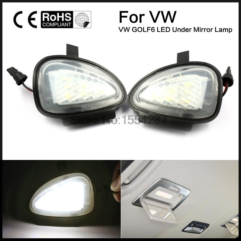 2 X Under Side Mirror Puddle 6 LED Lights for VW GTi/Golf MK6 6/MKVI 2010-2014 Touran Cabriolet 2pcs car styling auto no error under mirror led puddle light lamp for volkswagen vw golf mk6 gti touran 2011 white accessories