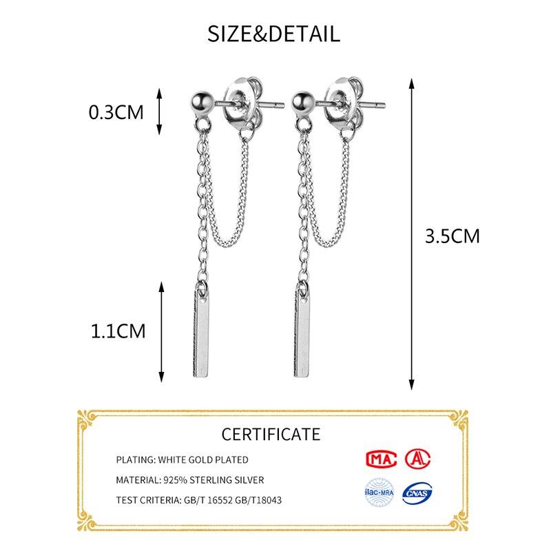 INZATT Real 925 Sterling Silver Elegant Chain Tassel Drop Earrings For Fashion Women Cute Wedding Fine Jewelry 2019 Accessories