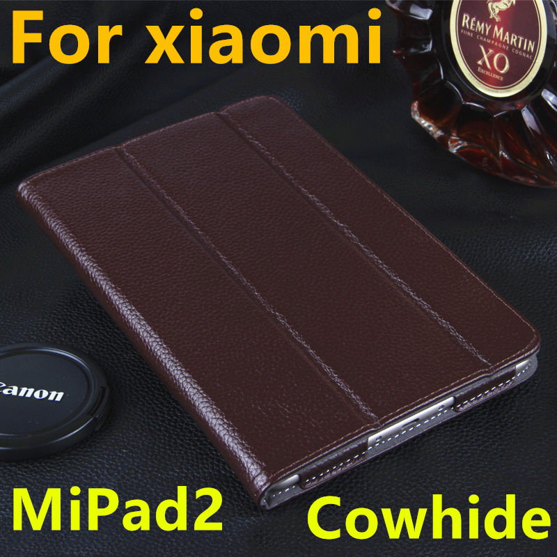 Case For Xiaomi MiPad 2 Cowhide Protective Smart cover Genuine Leather Tablet PC 3 For XIAOMI mipad2 Protector Sleeve 7.9 inch luxury pu leather case cover for xiaomi mi pad 1 2 3 mipad 2 3 7 9 tablet pc sleeve pouch bag cases for mipad3 can satnd case