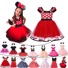 Baby Girl Cute Minnie Mouse Clothing Above Knee Mini Falda Toddler Polka Kid Summer Party Tulle Dress Mickey Clothes Child Frock