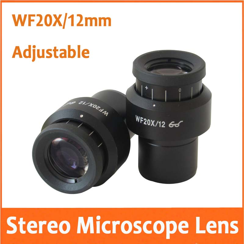2PCS WF20X Power 12mm Field of View High Eyepoint Adjustable Plan Optical Stereo Microscope Eyepiece Glass Lens 30mm aiboully 20x eyepieces for a variety of stereo microscopes interface size 30mm universal size lens coating high point of view
