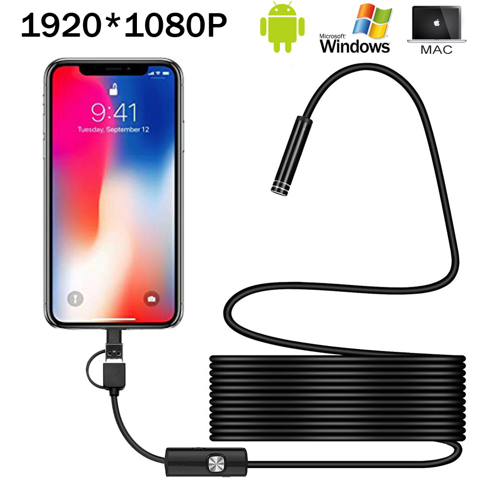 8mm Endoscope Camera 1080P HD USB Endoscope With 8 LED 1/2/5m Cable Waterproof Inspection Borescope For Android PC
