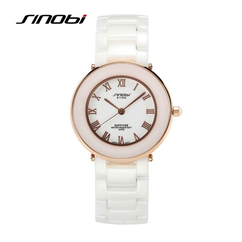 ФОТО SINOBI Ladies Fashion White Ceramic Wrist Quartz Watch Women dress Wristwatch Female Designer Watches dress clock hours box free