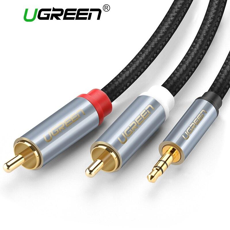Ugreen RCA Audio Kabel 2RCA Männlichen zu 3,5mm Jack zu 2 RCA AUX Kabel Nylon Geflochtene Splitter Kabel für heimkino iPhone Kopfhörer