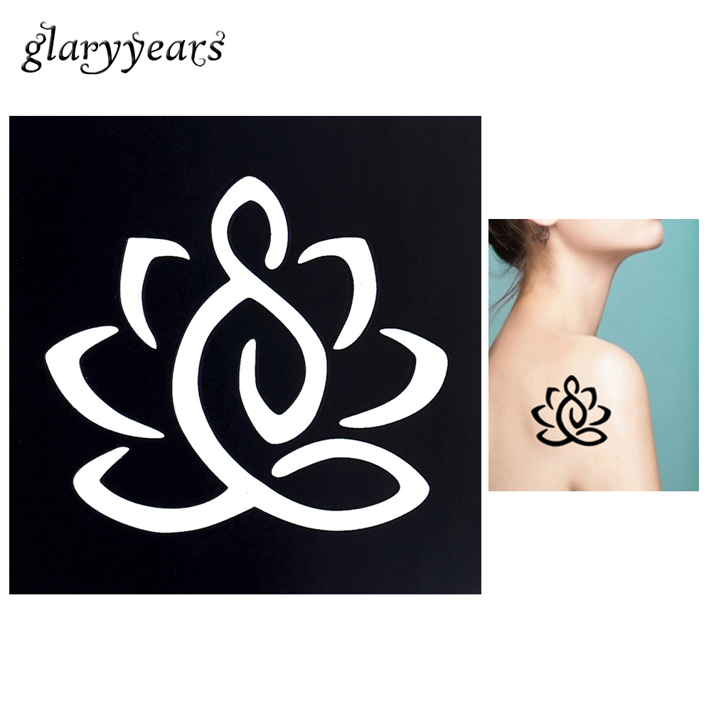 1pc Body Art Airbrush Painting Tattoo Stencil Lotus Flower Petal