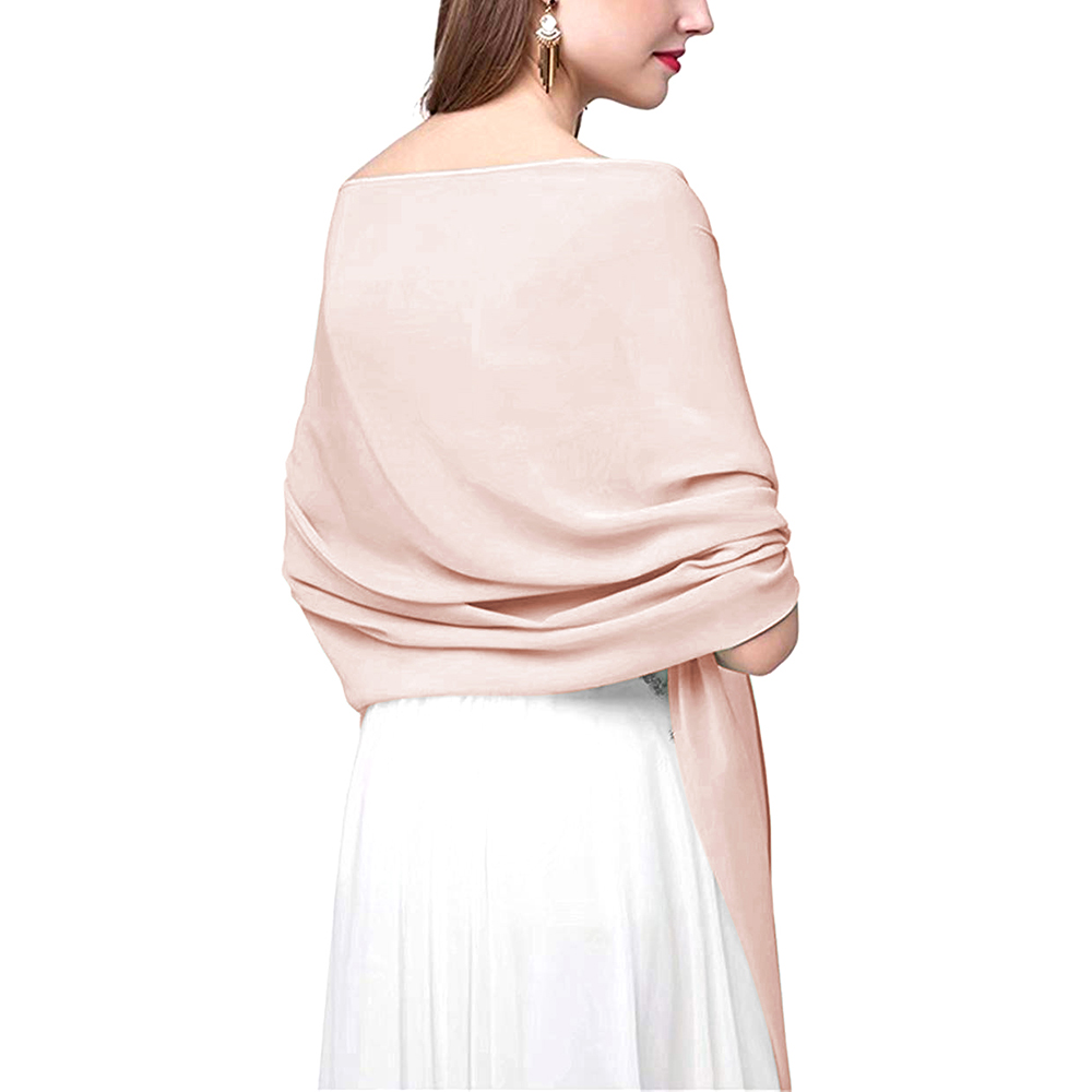 VKbridal Chiffon Women Shawls And Wraps For Evening Prom Party Soft L70in Length 29.5in Wide Long Bridesmaid Shawl