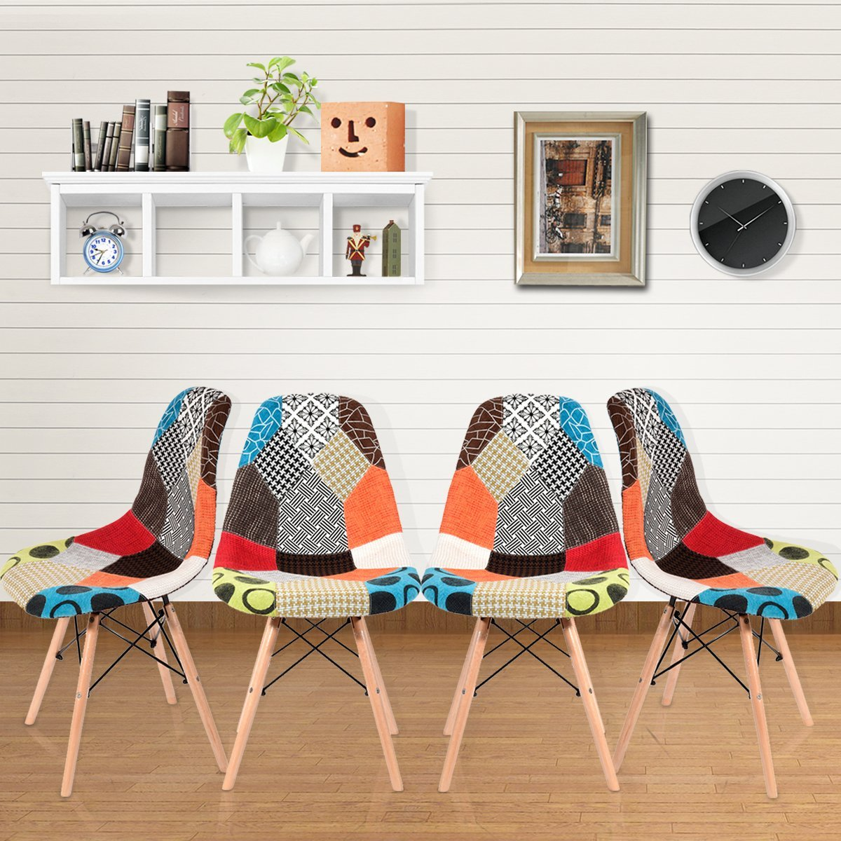 Panana Set Of 4 Dining Chairs Retro Patchwork Chair Fabric Dining Lounge Chairs