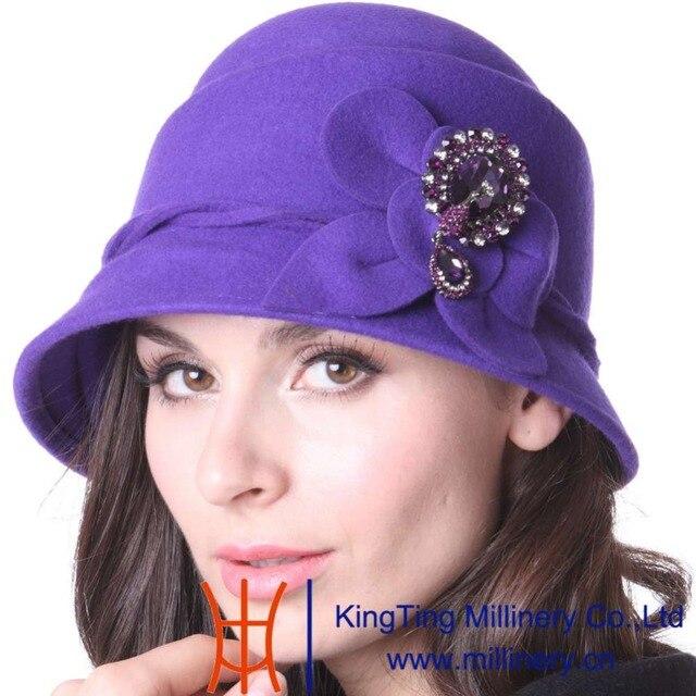 dcba1744463 June s Young Women Hat Winter Felt Hat Cloche Hat Purple Stylish Hat  Diamond Casing Floral Pattern Fashion Female Party Fedoras