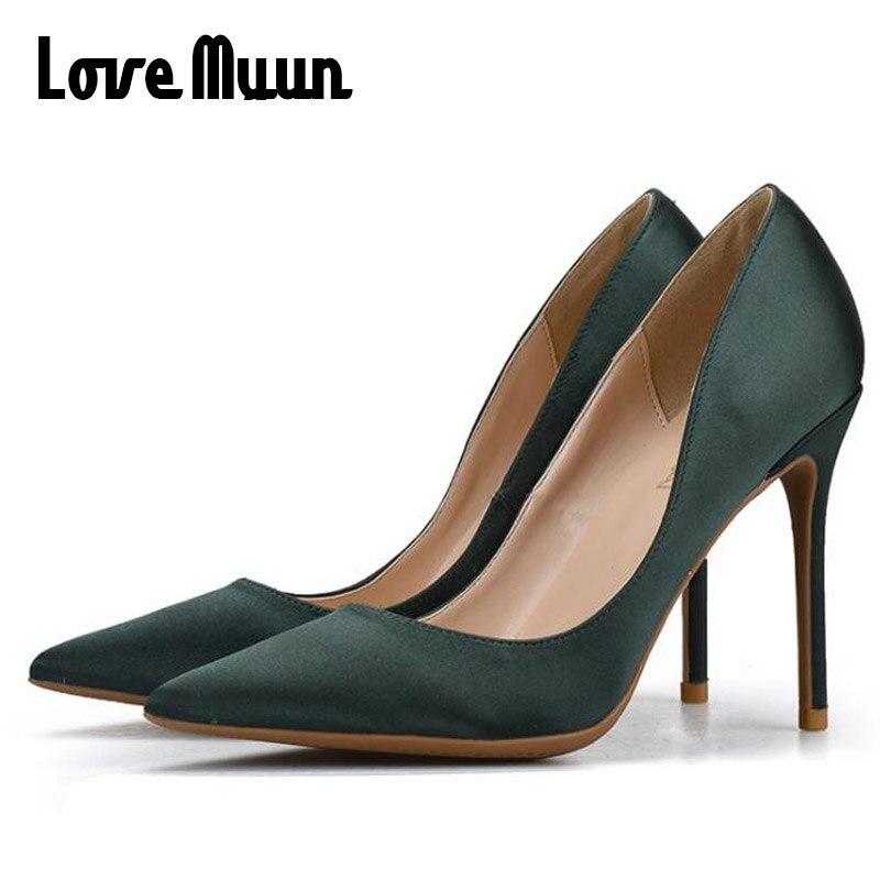 Thin High Heels Shoes Thin Satin Female Pumps Sexy Silk Pointed Toe Elegant Women OL party wedding Shallow pumps 6/8/10CM OO 14