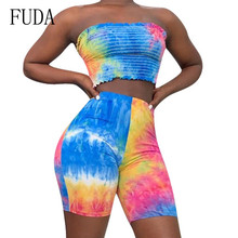 FUDA Printed Rompers Womens Two Pieces Sets Bodycon Jumpsuits Summer Contrast Pleated Tube Top Playsuits Elegant Retro Bodysuits fuda two pieces sets large size 3xl playsuits women bodycon rompers bodysuits short sleeve printed casual summer overalls