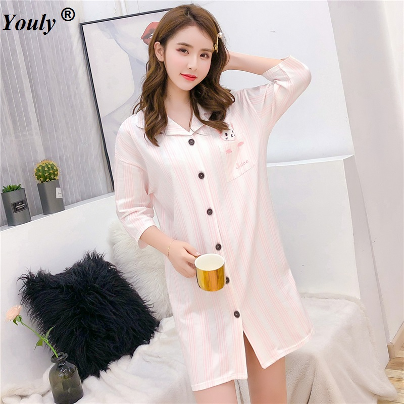 Cotton Striped Cardigan Casual Nightdress Women 2019 Cute Cartoon Sexy   Nightgowns     Sleepshirts   Female Homewear Dress   Nightgowns