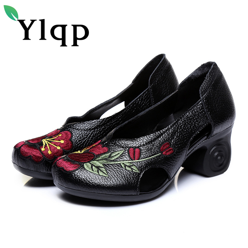 Ylqp Female National Wind Genuine Leather Embroidered Pumps 2018 Spring Women Vintage Floral High Heels Shoes Lady Zapatos Mujer bigtree new women pumps high heels shoes sandals woman fashion open toe party wedding buckle strap stilettos sandals 34 39