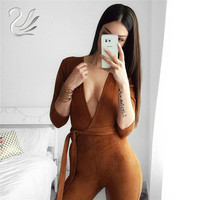 Women Jumpsuits 2016 New Autumn Winter 4 Color Deep V Neck Suede Belt Sexy Club Bandage