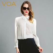 VOA Summer Women Silk Blouse Ladies Office Long Sleeve White Shirts Casual Fashion Solid Women Tops And Blouse 2017 B6097