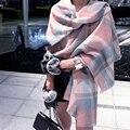 Otoño Invierno de La Moda a cuadros de gran tamaño Caliente de la aptitud Imitar cashmere bufanda Para Las Mujeres de señora Pashmina chal Doble efecto 190*65 cm