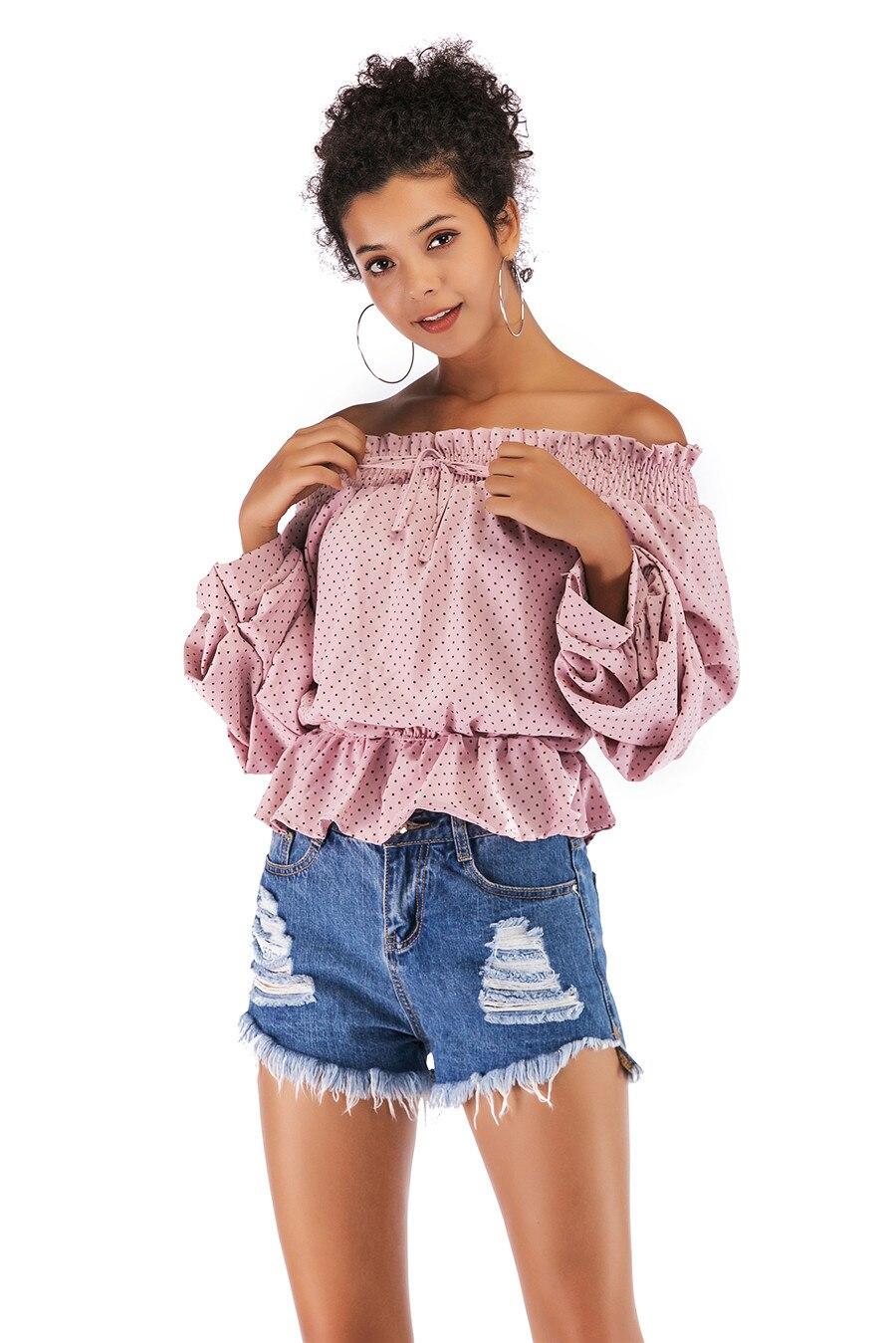 Gladiolus Chiffon Blouse Women 2019 Spring Autumn Long Sleeve Polka Dot Off Shoulder Sexy Blouses Women Shirts Ruffles Blusas (28)